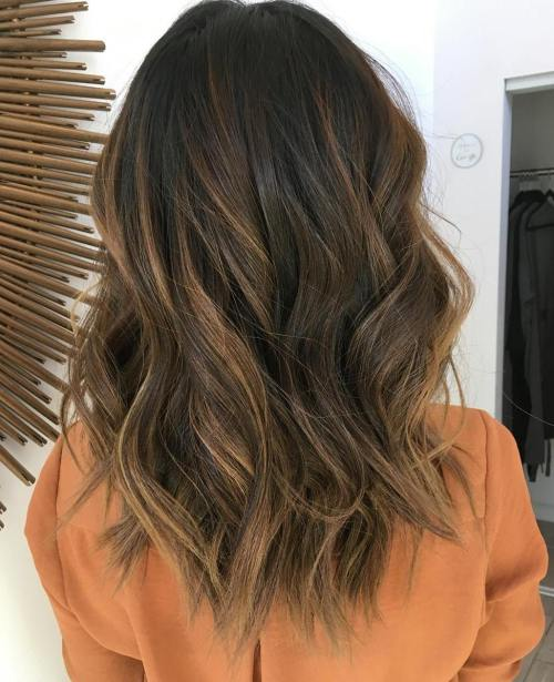 Medium Black to Toffee Balayage Hairstyle for Thick Hair