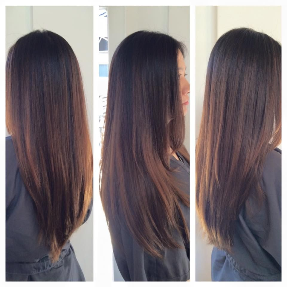 Balayage Caramel Highlights on Asian Girls long straight hair