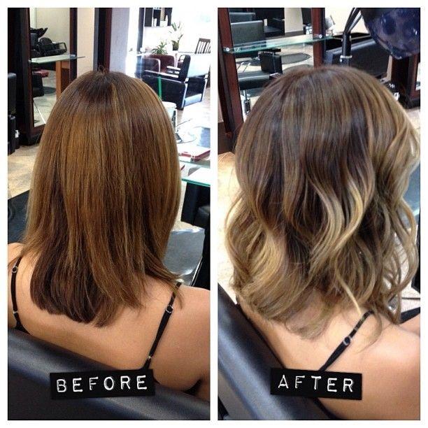 balayage medium hairstyle - balayage before and after