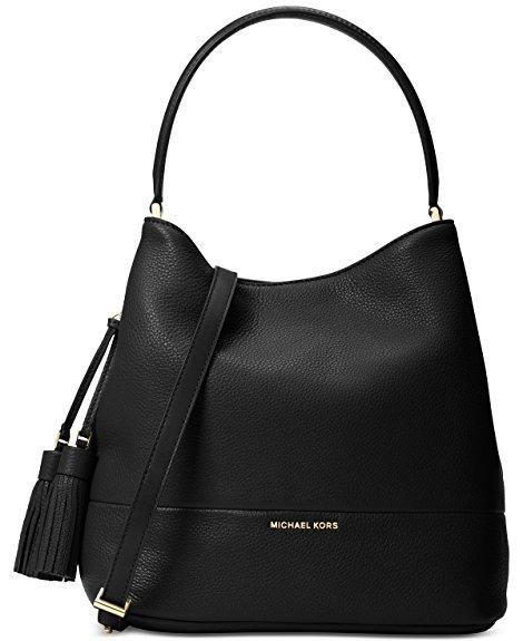 Michael Kors Kip Large Leather Bucket Handbag (Black)