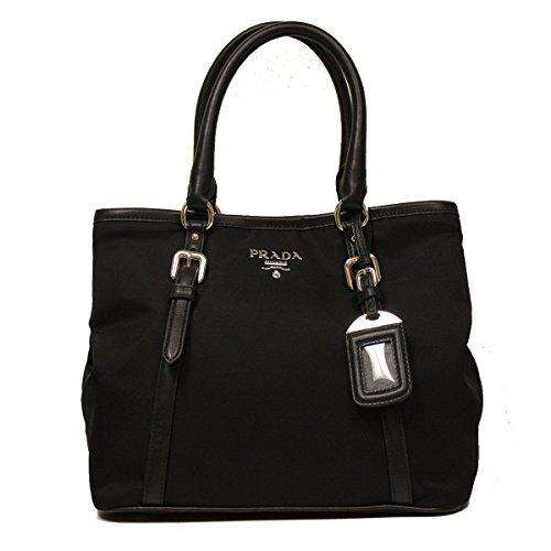 Prada Black Tessuto Soft Calf Leather Bowling Bag Medium Top Handle Handbag with Shoulder Strap BN1841