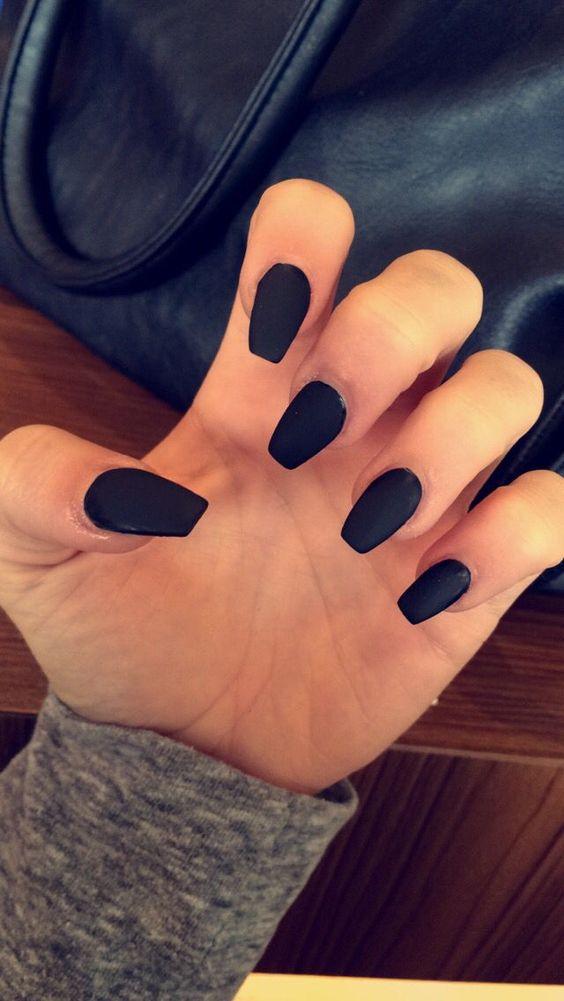 Matte black coffin shape acrylic nails