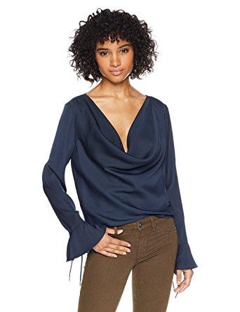 findersKEEPERS Women's Zephyr Long Sleeve Cowl Neck Top, Ink, M