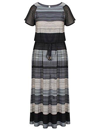Chicwe Women's Plus Size Luxury Raglan Sleeves Maxi Dress With Belt 16, Multi Grey