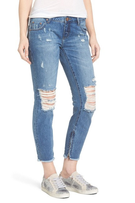 Image of One Teaspoon Freebirds Ripped Crop Skinny Jeans (Pacifica)