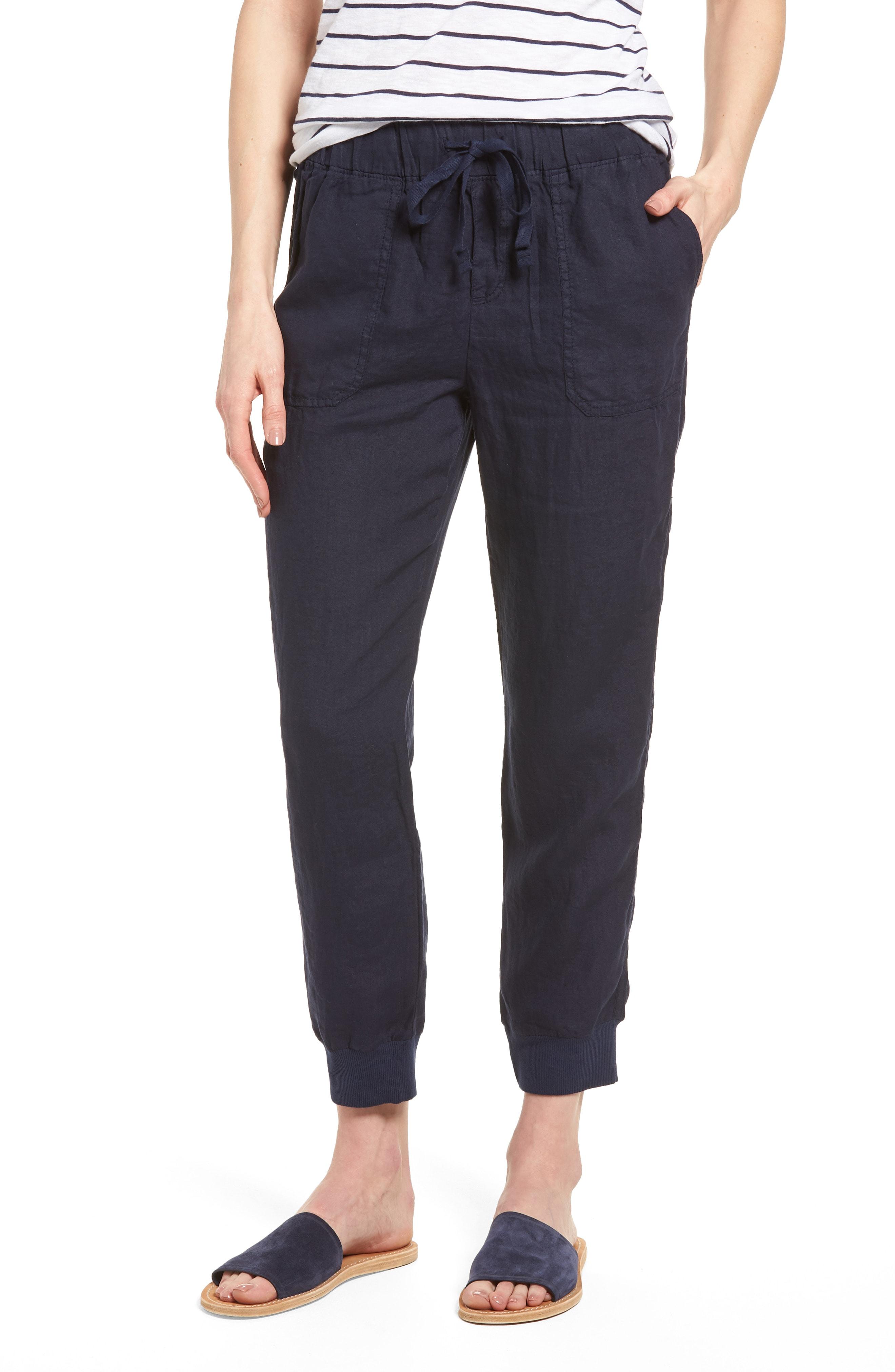 Linen Jogger Pants, Main, color, Navy Peacoat