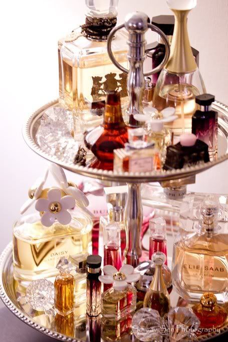 Tiered cake stand as a perfume organiser on a dressing table or in a dressing room