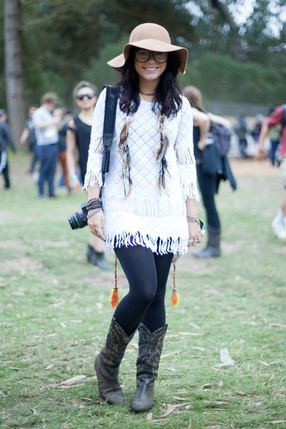 feathers, knitwear, tights, and cowboy boots... not over the top when all in great neutrals