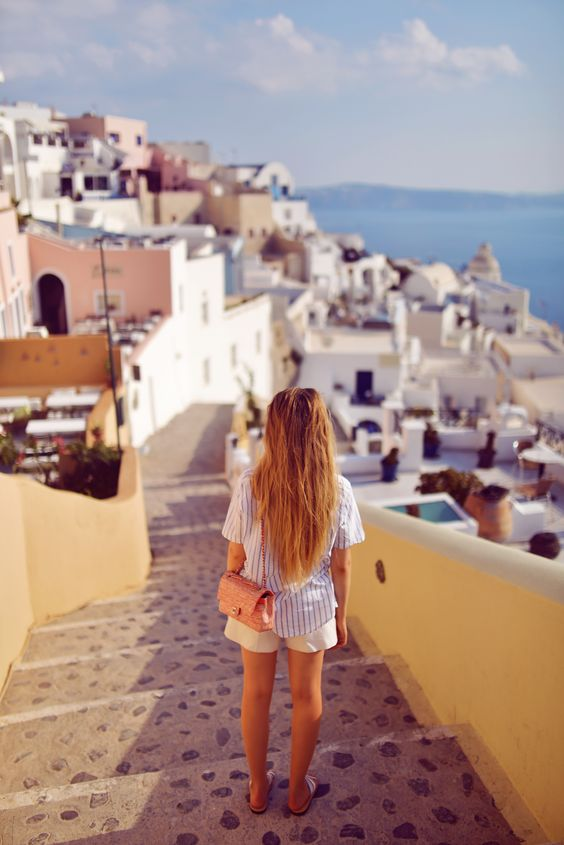 Young woman traveling in Greece
