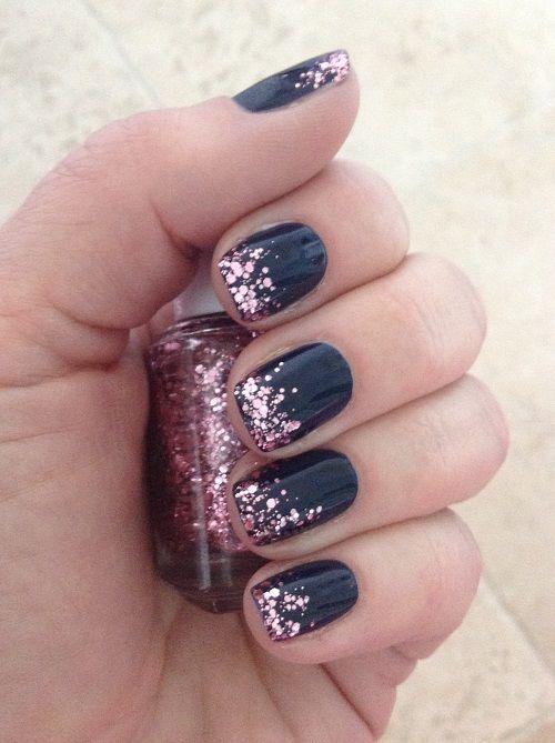 Navy with Glitter Tips Elegant Nail Design