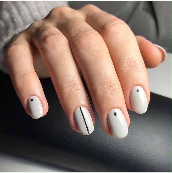 Accurate nails, Beautiful nails 2019, Easy nail designs, Everyday nails, Nail art stripes, Nails trends 2019, Polka dot nails, Round nails