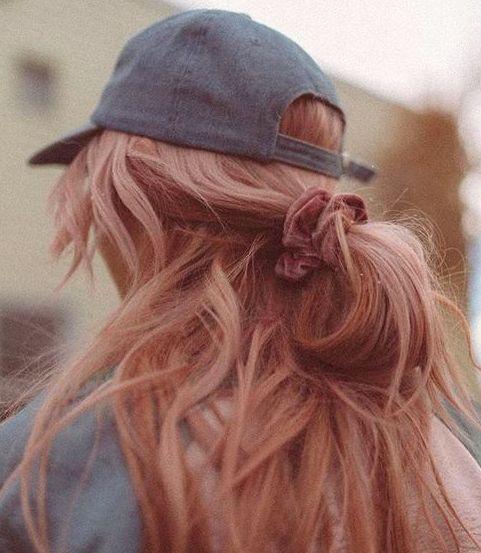 baseball cap + velvet scrunchie