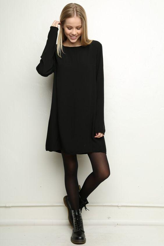 Lovely black dress, black tights, Dr Martens @thirzachloevdn ^