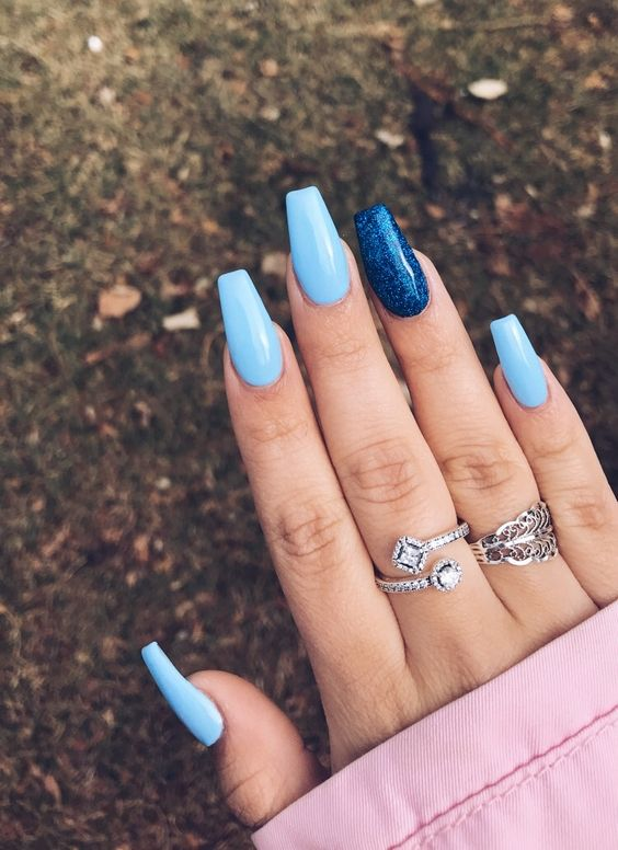 Light blue coffin acrylic nails
