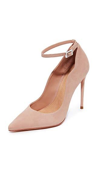 Schutz Women's Thaynara Ankle Strap Pointed Heels, Amendoa, 10 B(M) US