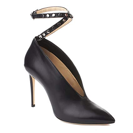 Jimmy Choo Women's 'Lark 100' Leather Ankle Strapped High Heel Pump Shoes Black