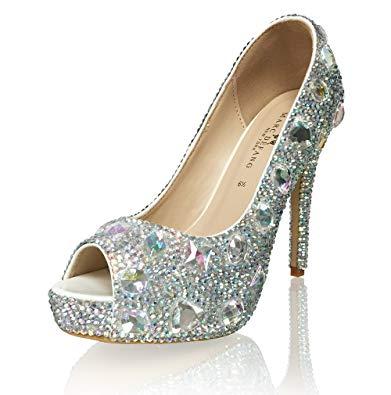 Marc Defang New York Women's Handmade AB Crystal Diamond Frost Bridal Heels (5M US)