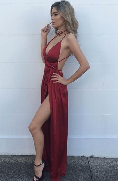 New Arrival Prom Dress,Modest Prom Dress,Sexy Burgundy Maxi dress,v neck evening dress,long formal dress,backless prom dress,slit side dresses