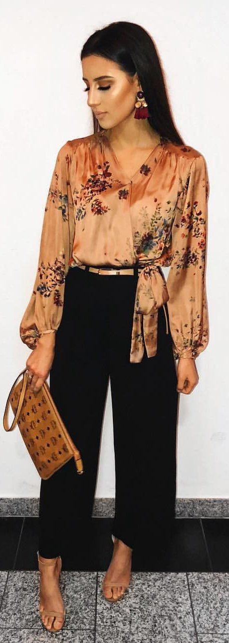 #winter #outfits beige and green floral blouse