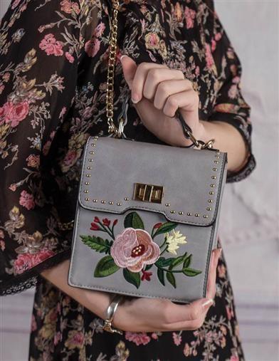 Dusty Blossom Handbag | Dove Grey Embroidered Purse