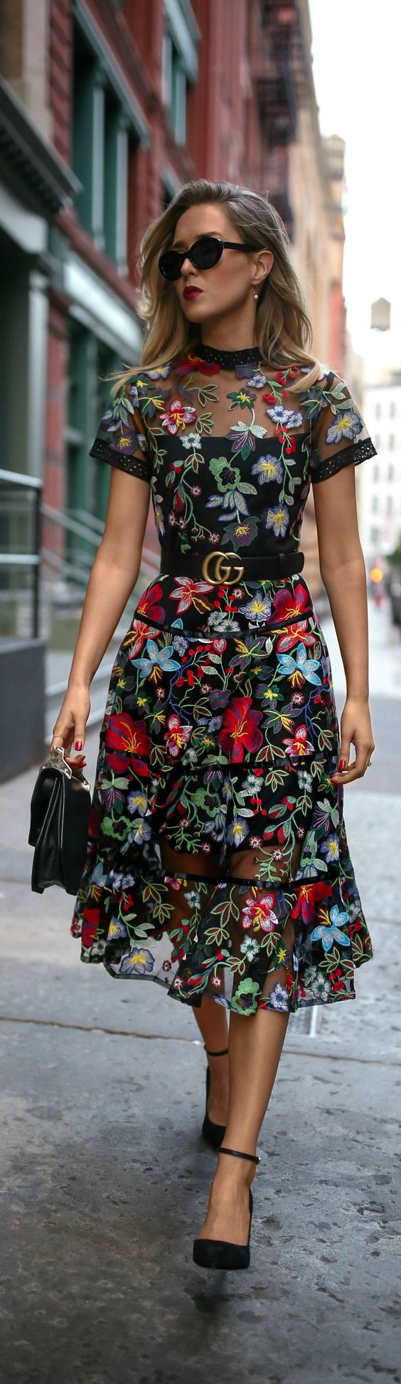 Trend Memo Day 6: Fall Florals // Floral embroidered midi dress, leather waist belt, ankle strap pumps, mini shoulder bag, cat eye sunglasses, pearl drop earrings {Anthropologie, Gucci, Sam Edelman, Marc Jacobs}