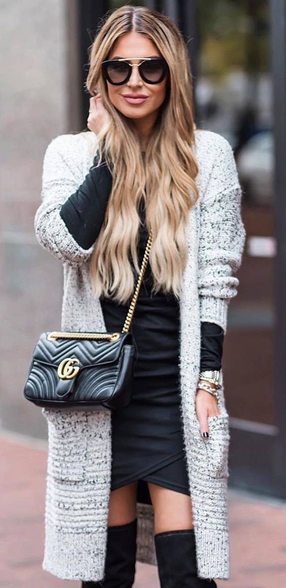 knit and black   cardigan + bag + dress + over the knee boots