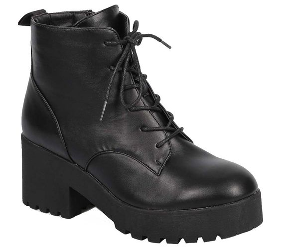 Step up your casual look with the Cobra-01 Ankle Boot. It has a chunky platform and heel, creating a bold, lifted look. The outsole features lugs to add extra traction and grip. This boot has a lace-u