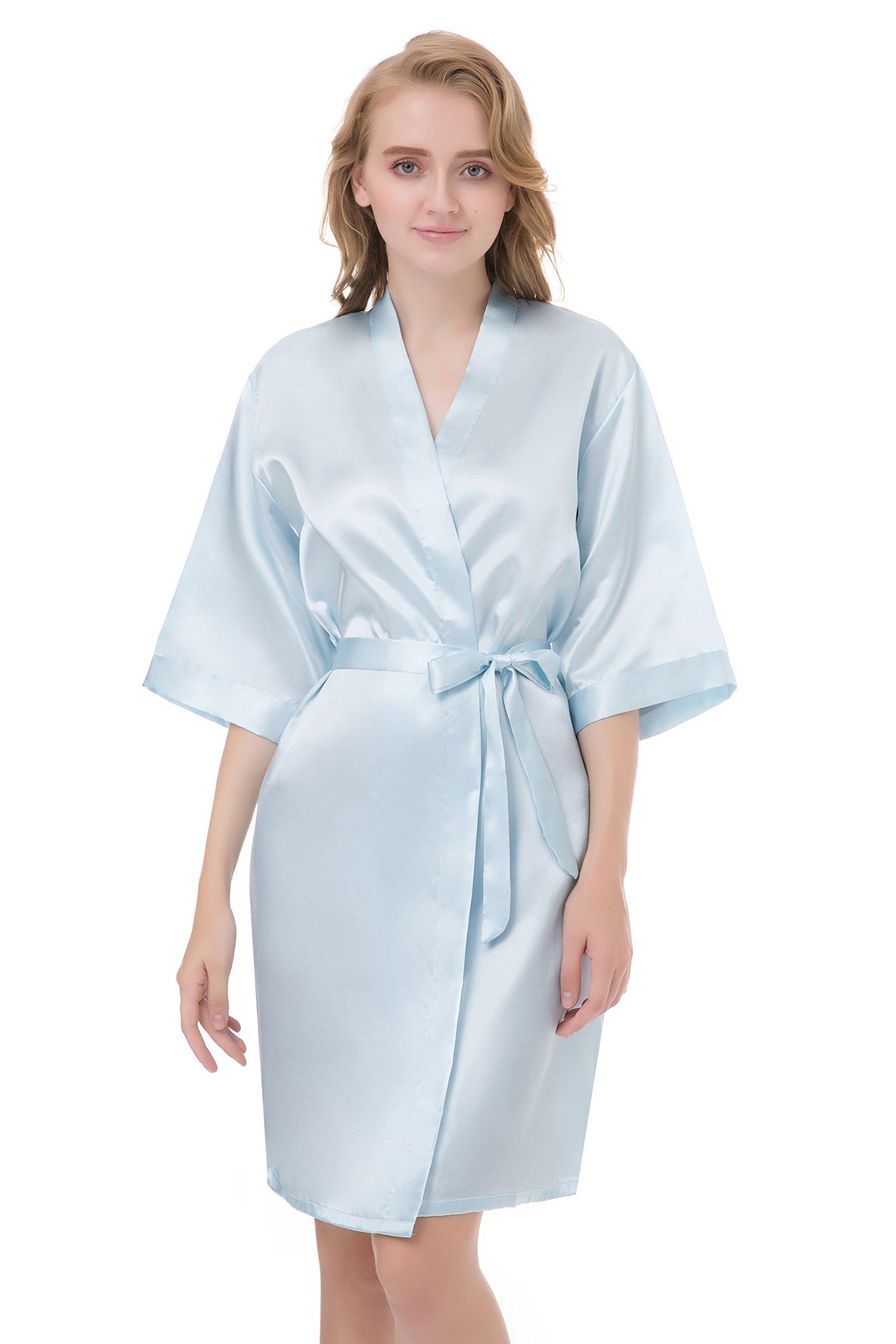 the54c1 sioro womens satin robe silky kimono bathrobe for bride ...