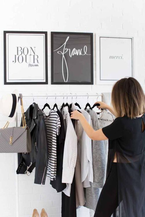 dressing area that looks minimal and classy - frame bags from your favourite stores or print out your favourite company logos.