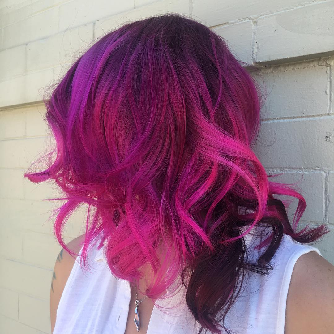 Curly Hot Pink and Maroon Shoulder-Length Cut red medium hairstyle
