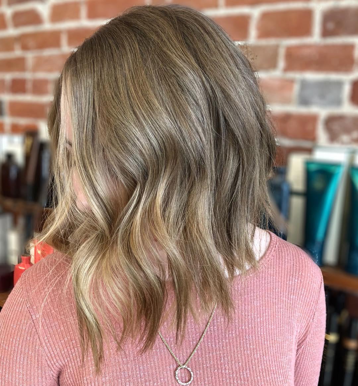 Dirty Blonde Shoulder-Length A-Line Lob balayage medium hairstyle