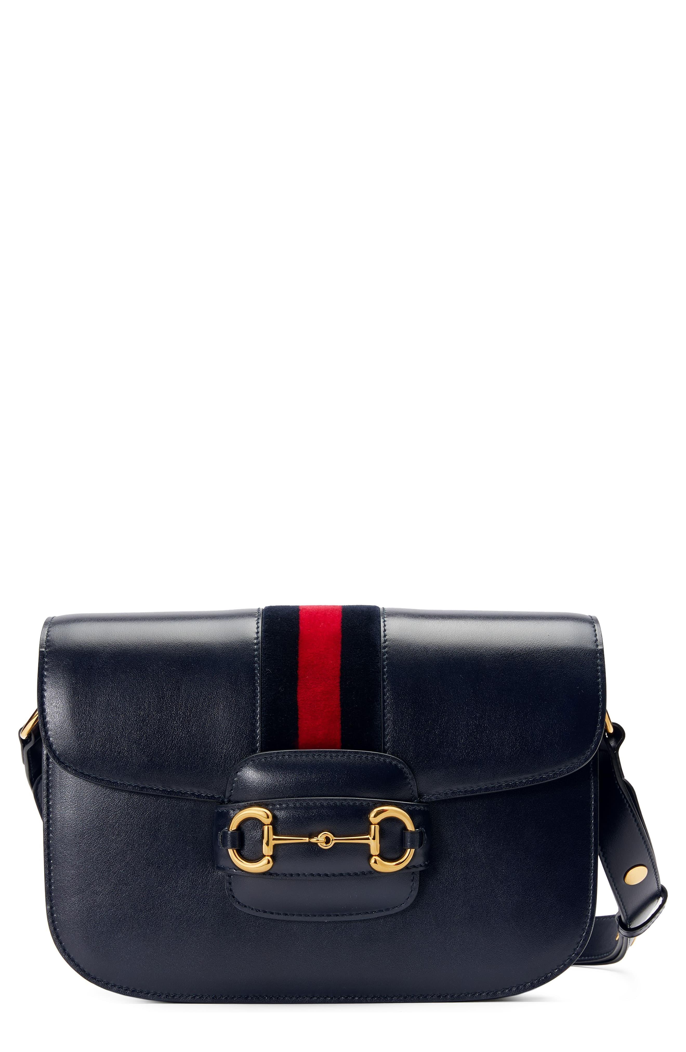 GUCCI Small 1955 Horsebit Leather Shoulder Bag, Main, color, BLU/ BLUE RED