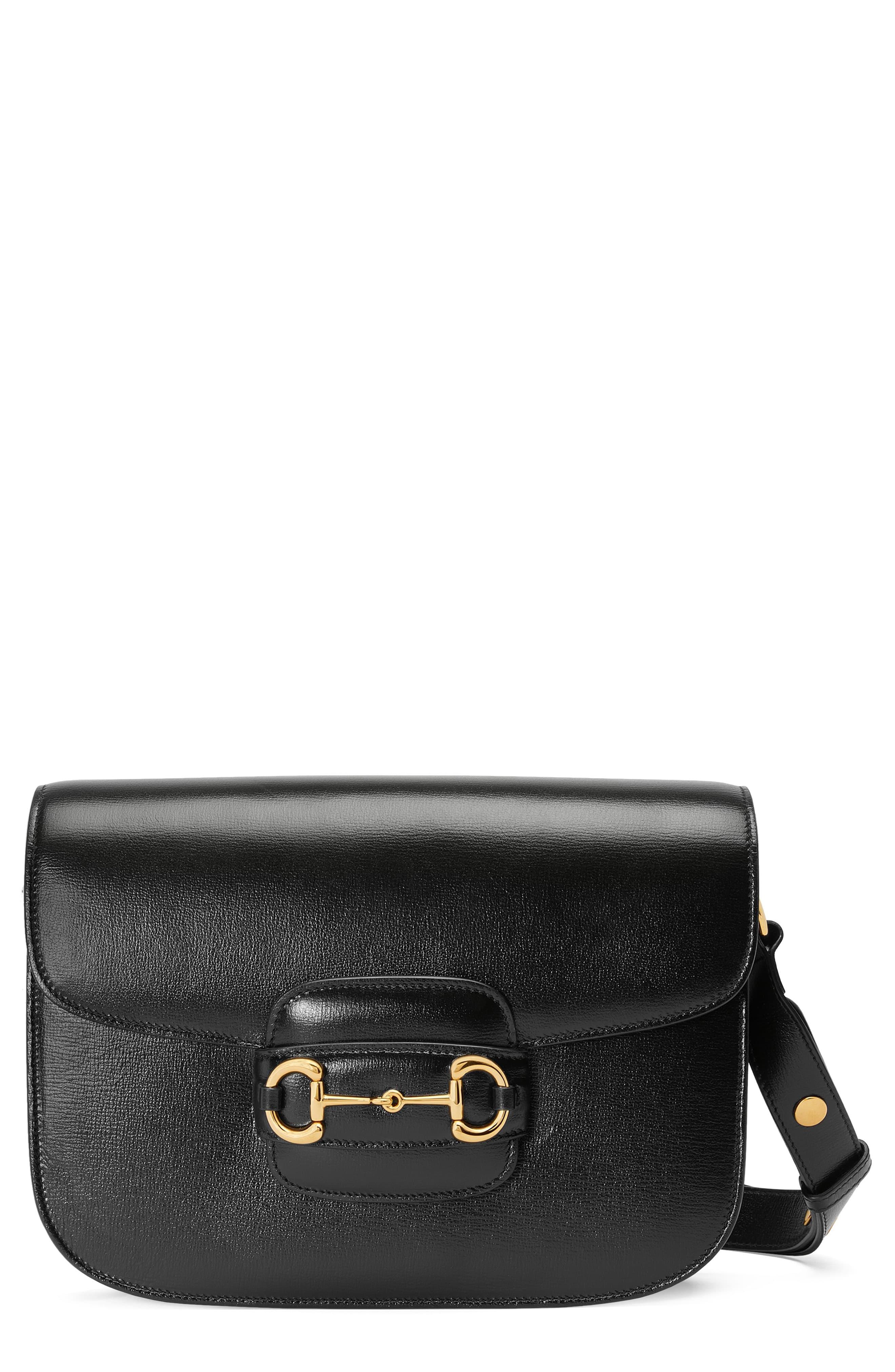 GUCCI Small 1955 Horsebit Leather Shoulder Bag, Main, color, NERO
