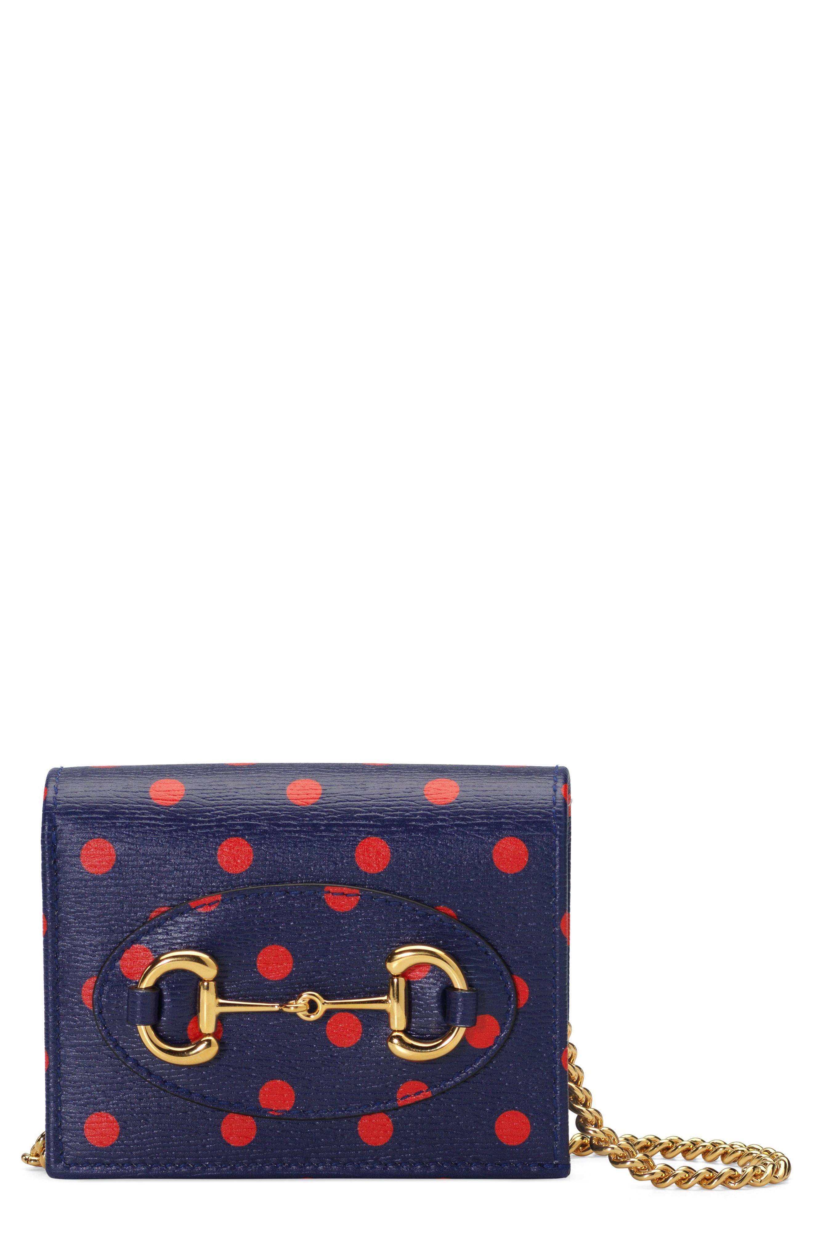 GUCCI 1955 Horsebit Polka Dot Leather Wallet on a Chain, Main, color, BLUE/ ORANGE