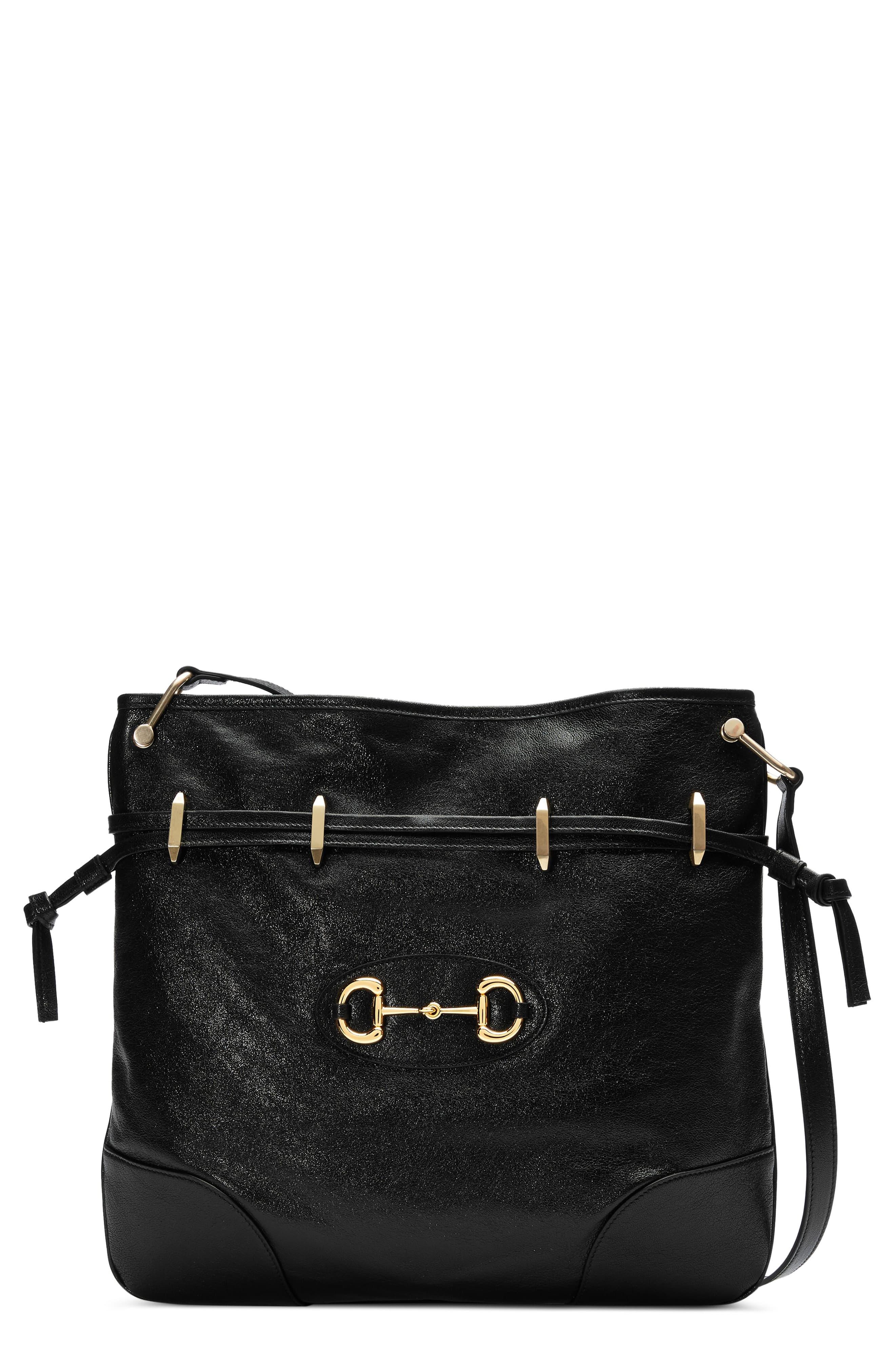 GUCCI Large 1955 Horsebit Leather Messenger Bag, Main, color, NERO