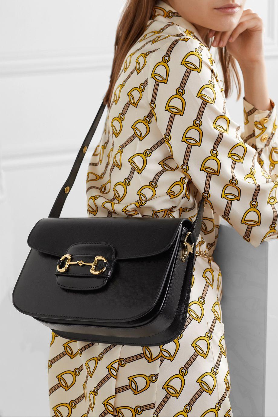 Black 1955 horsebit-detailed textured-leather shoulder bag | Gucci ...
