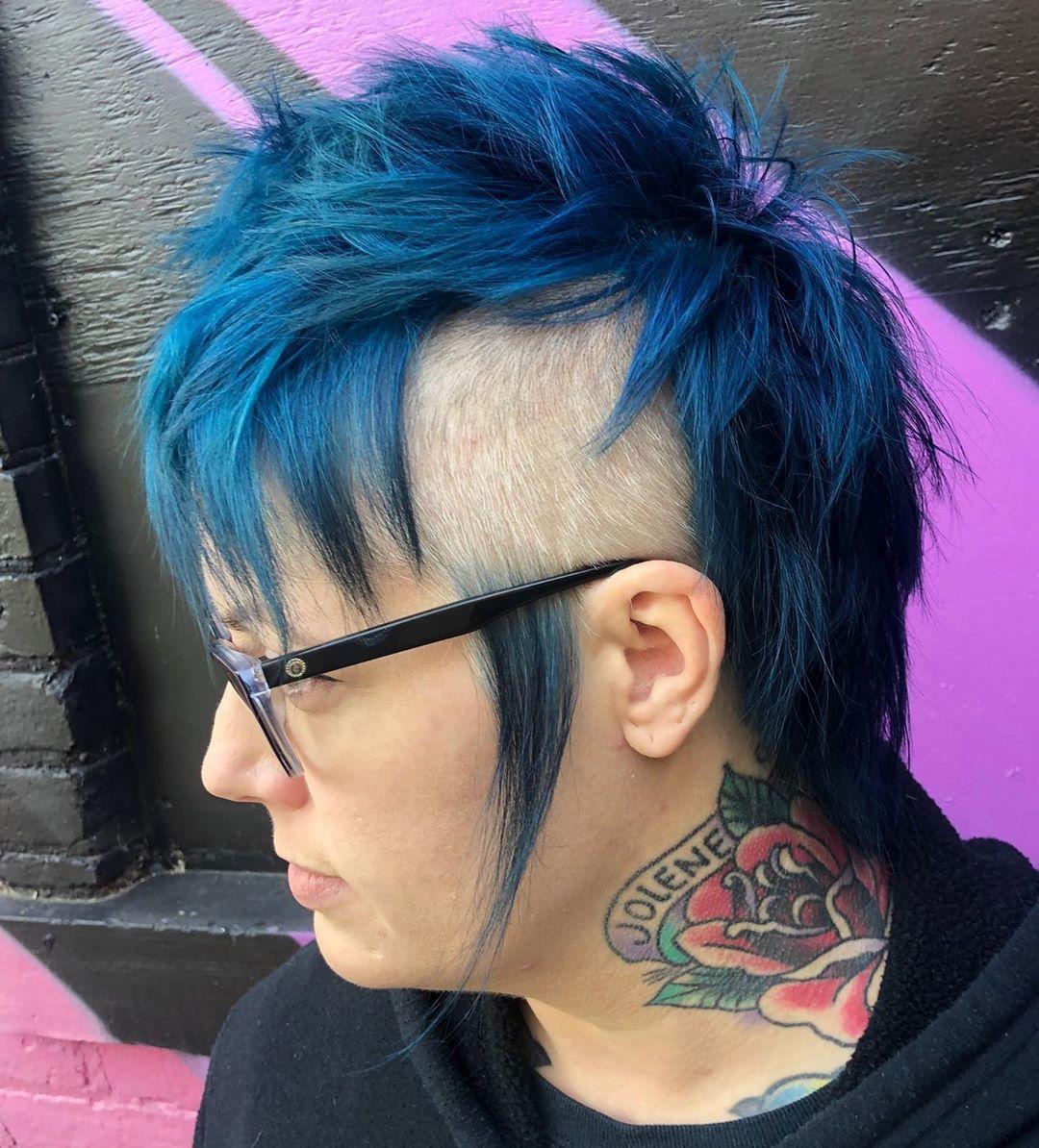 Daring fantasy blue short hairstyle