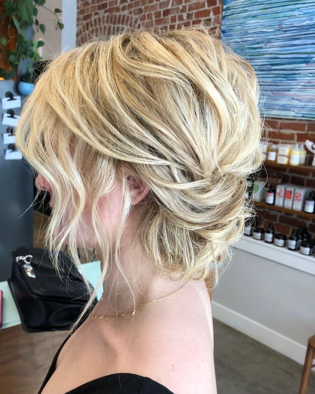loose blonde updo for summer