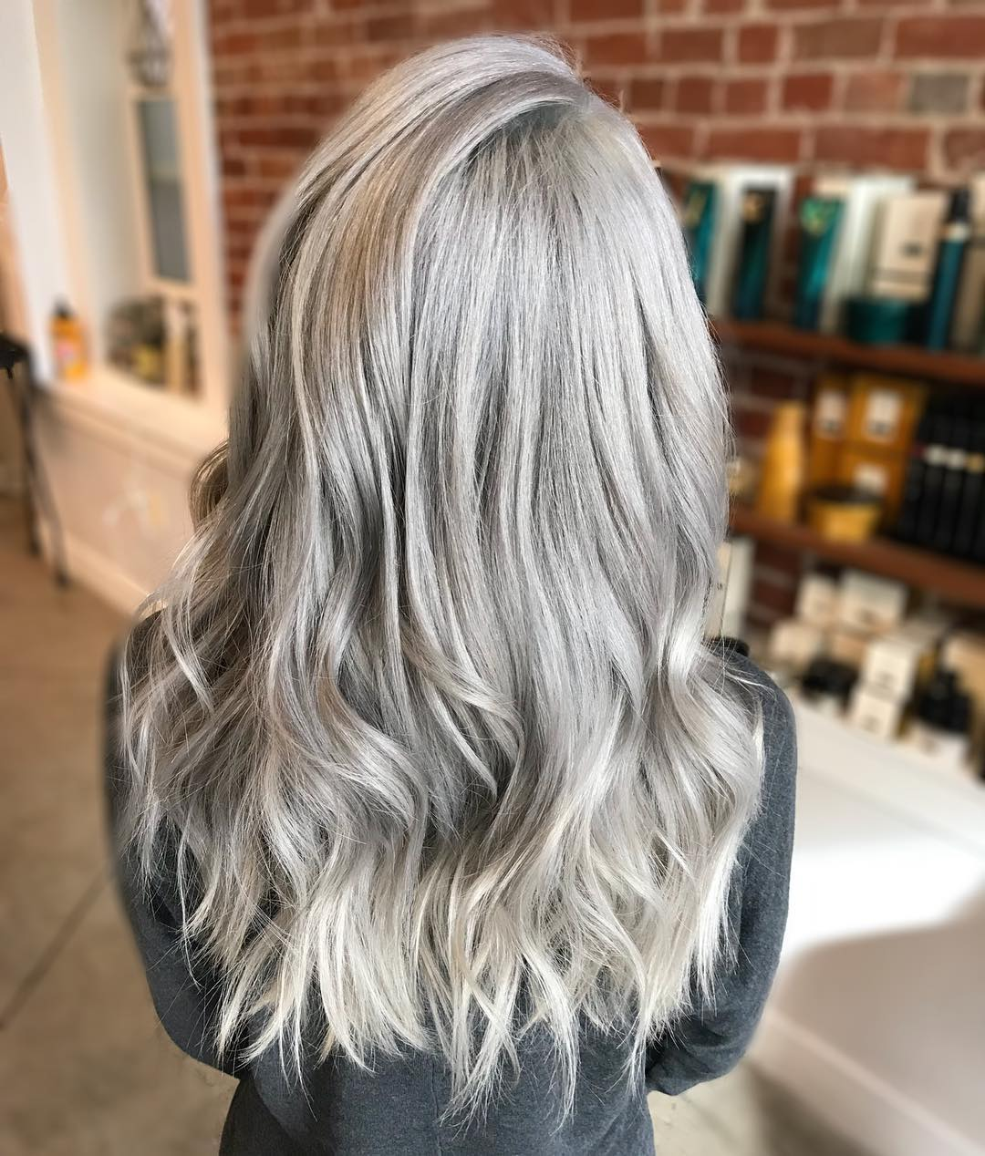 back view of long grayhairstyle