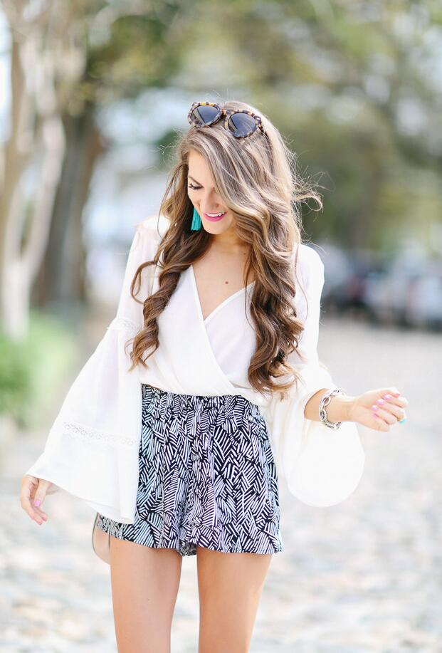 BELL SLEEVE TOP + PRINTED SHORTS