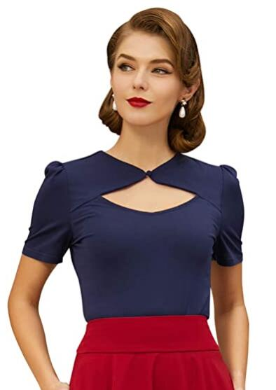 Belle Poque Women's Sexy Hollowed-Out Tops 1950s Retro Vintage Short Sleeve Cotton Blouse