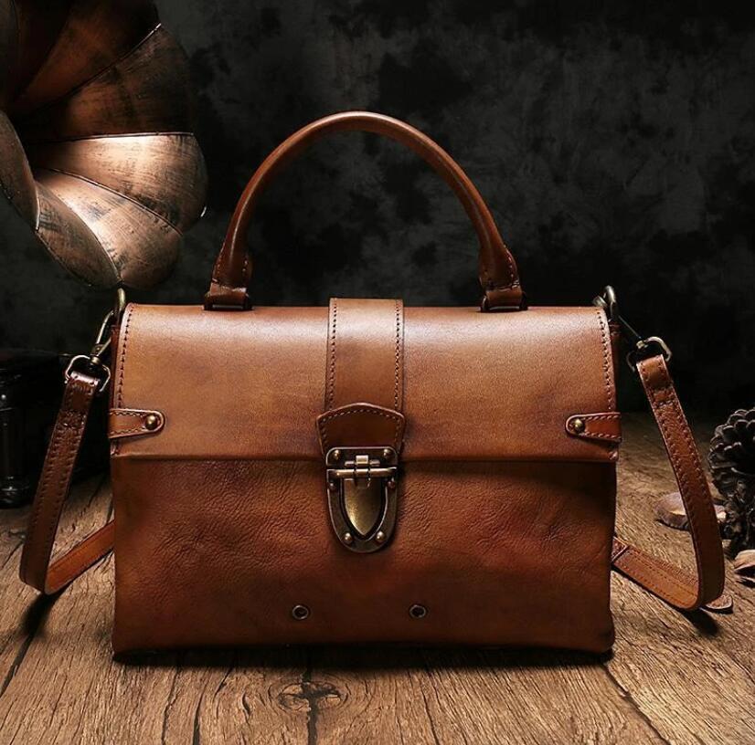 Vintage Womens Brown Leather Satchel Handbags Purse Shoulder Crossbody Bags for Ladies