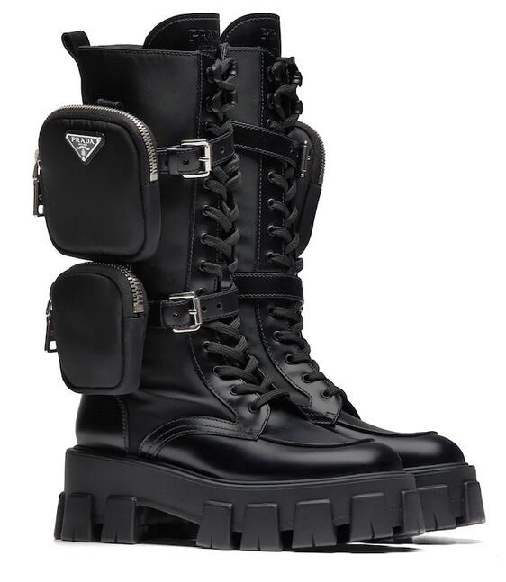 Prada Brushed Rois Leather and Nylon Boots 1W257M_3L09_F0002_F_055