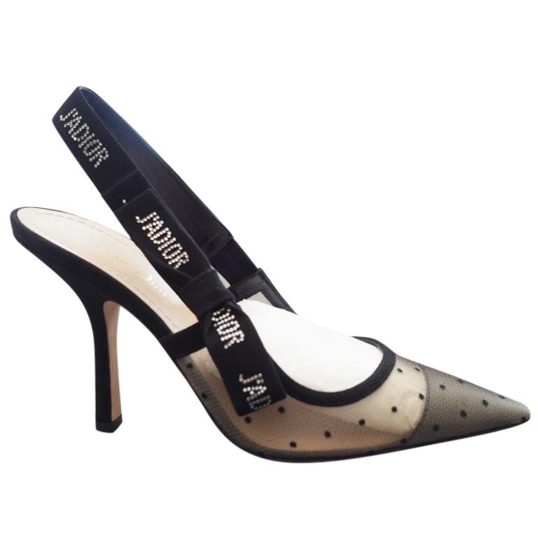Dior Jadior Plumetis Strass Slingback Sandals   HEWI