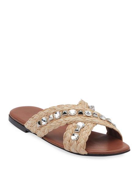 Image 1 of 3: Jeweled Raffia Flat Slide Sandals