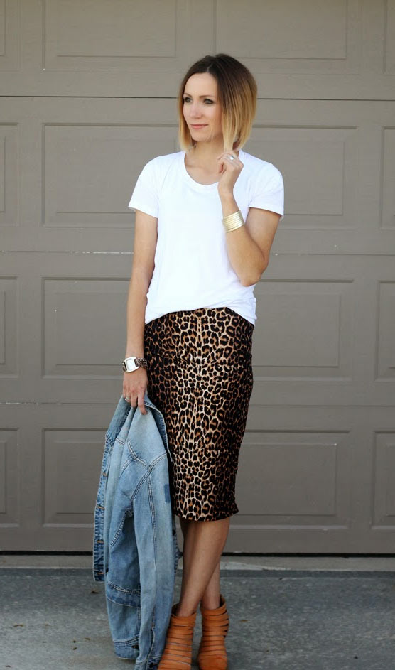 Leopard Skirt with Boots