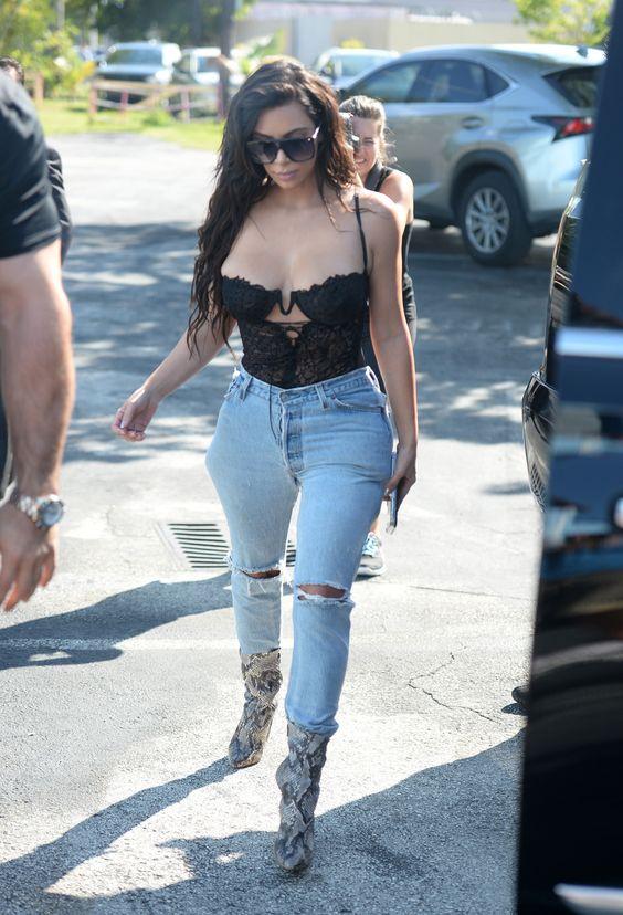 Kim arriving at a studio in Miami, Florida