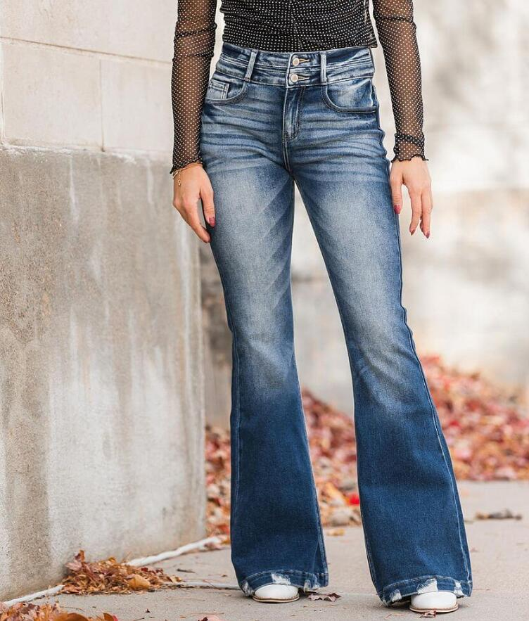 High Rise Flare Stretch Jean with flat shoes