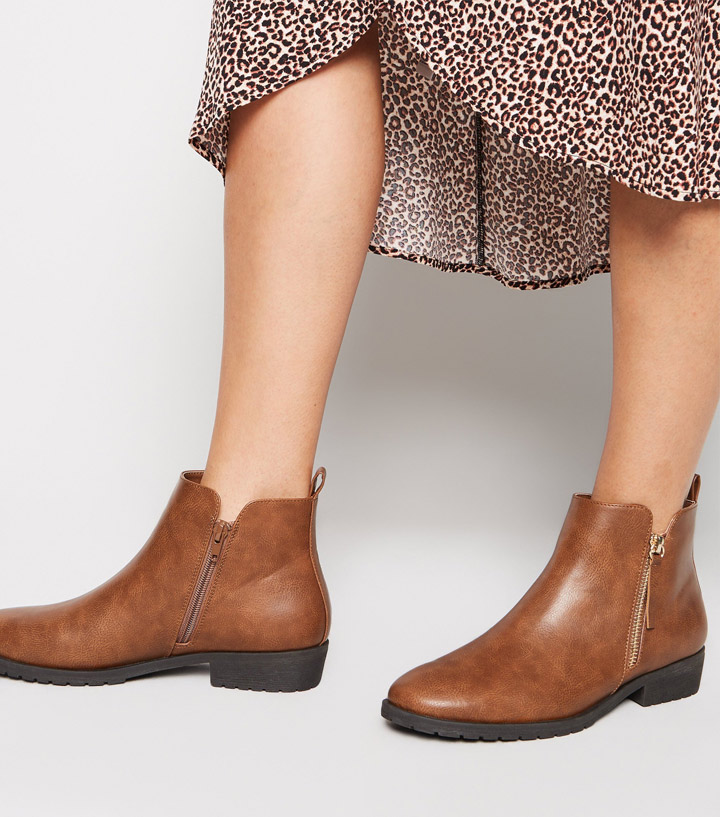 Tan-Leather-Look-Flat-Ankle-Boots