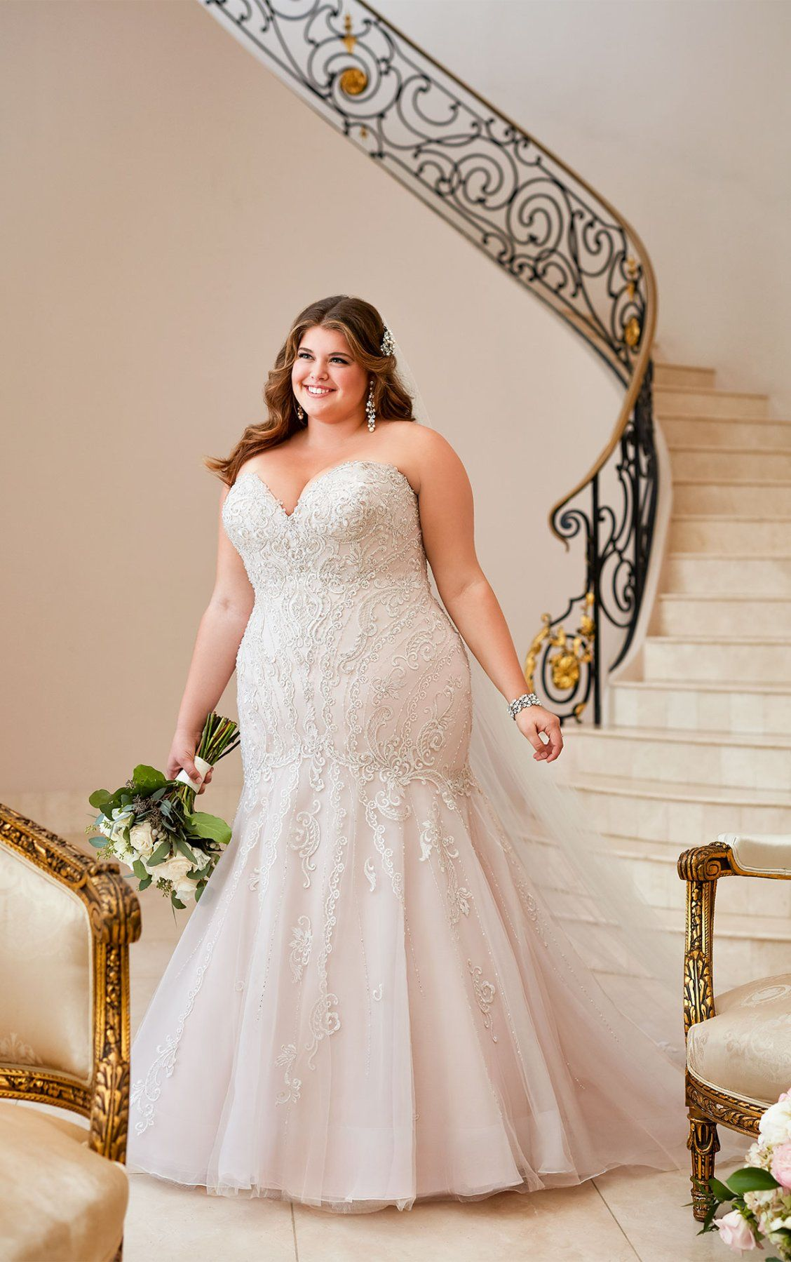 Mermaid Wedding Dress with Glamorous Lace | Plus wedding dresses, Wedding dress trends, Plus size wedding gowns